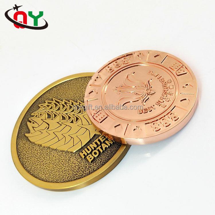 Fábrica de Zhongshan dos cara personalizado moneda recuerdo Antiqu <span class=keywords><strong>latón</strong></span> <span class=keywords><strong>bronce</strong></span> moneda de cobre