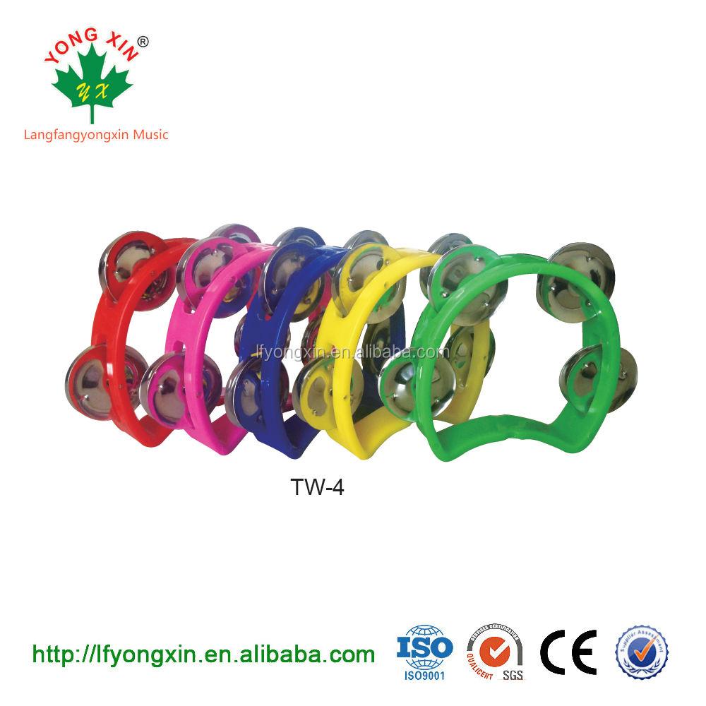 Barato Orff percusión plástico 4 Jingles Rosa negro 8 pulgadas sin cabeza Tambourine tambor para niños