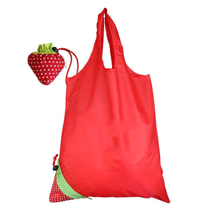 Alta qualidade eco friendly reutilizável Poliéster saco de compras morango
