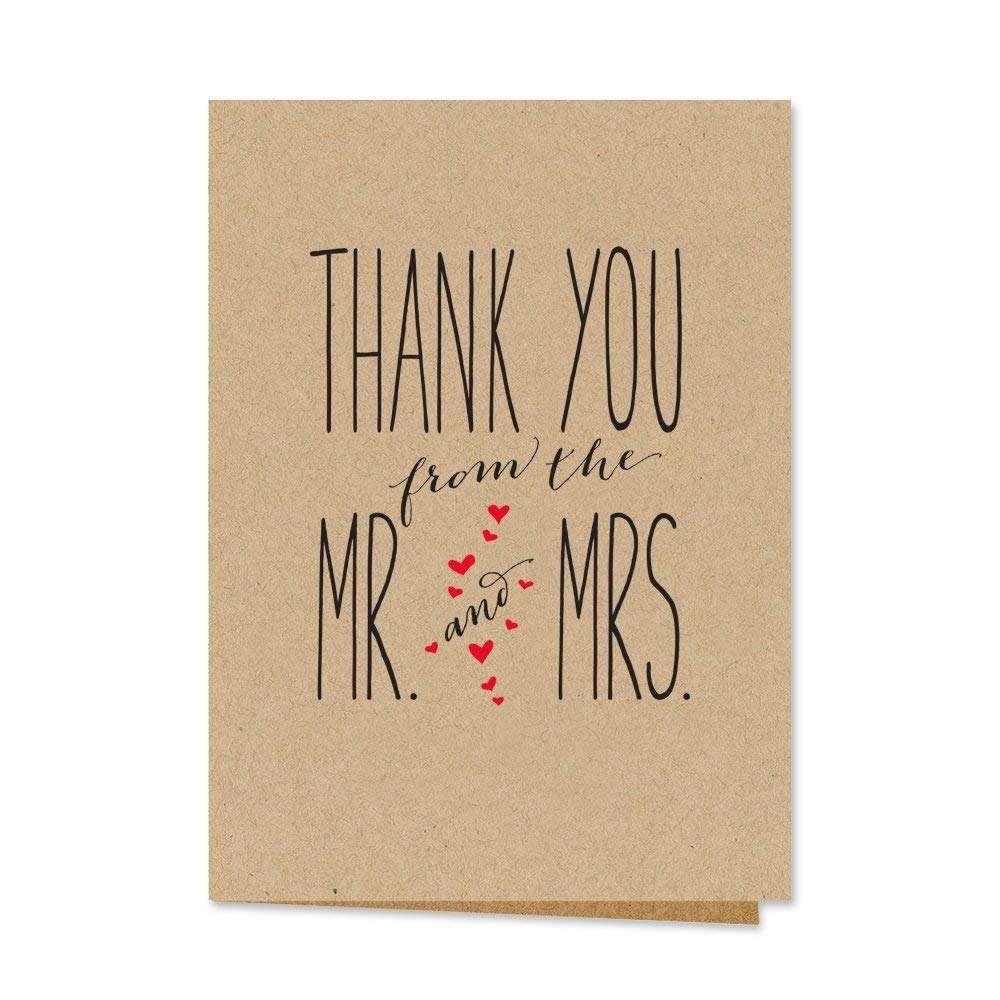 36 ps M. et Mme. Merci Cartes de Correspondance, Blanc À L'intérieur avec Kraft Enveloppes Derniers Modèles De Cartes De Mariage
