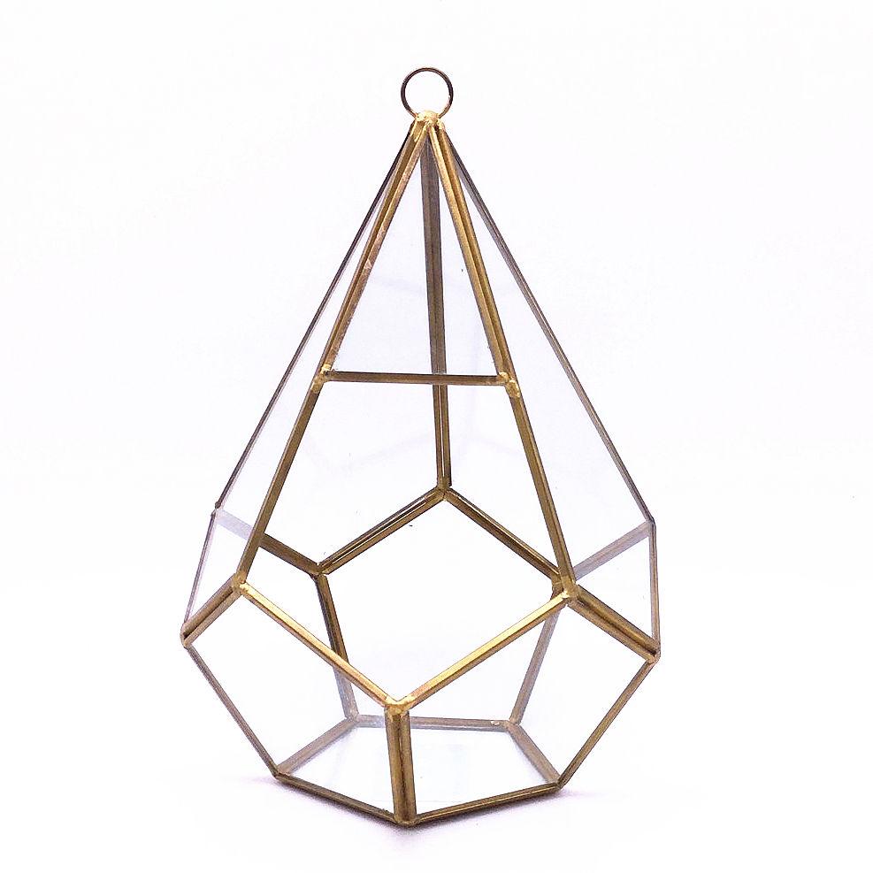 Jardín de oro geométrica de Metal de cristal mesa de plantas suculentas titular <span class=keywords><strong>florero</strong></span> de cristal