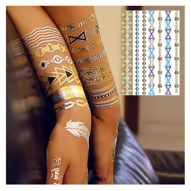 Dame Imperméable À L'eau Tatouage Temporaire Métallique en Or Argent Tatouages Shimmer Temporaire Tatouages pour L'art Corporel