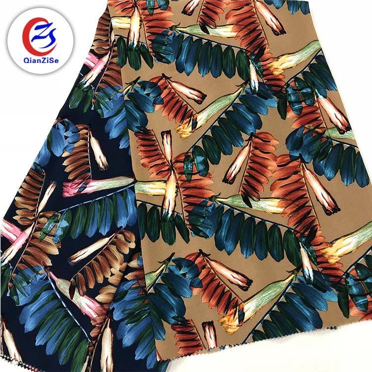 Модный дизайн листьев 100% полиэстер Тайвань dupont <span class=keywords><strong>delustered</strong></span> атласная ткань для одежды