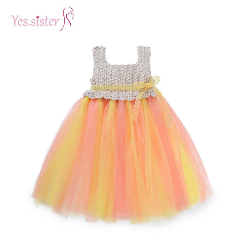 Вязаный крючком Pari платье дизайн для маленьких девочек