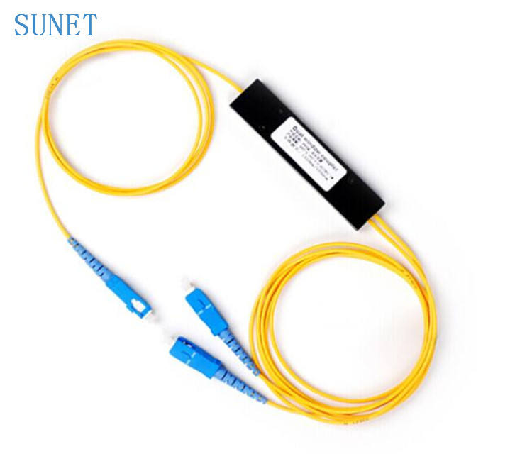 FTTH fibra óptica de modo único 1*2 ABS tipo de doble ventana Fbt acoplador