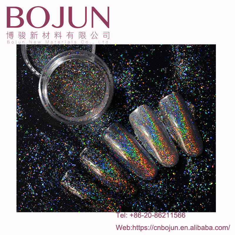 BoJun galaxy holo copos transparente camaleón fuegos artificiales de polvo para uñas esmalte de uñas