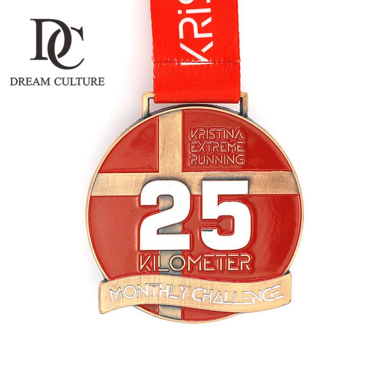 カスタムエンボス加工鋼 25 k 極端な実行ブロンズ金属色チャンピオンメダル