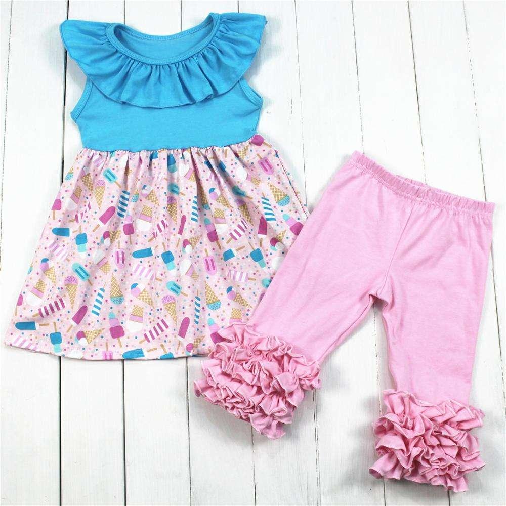 حار بيع الآيس كريم الطباعة الوليد ملابس الطفل القطن العضوي ملابس وتتسابق الفتيات الملابس مجموعة <span class=keywords><strong>بوتيك</strong></span>