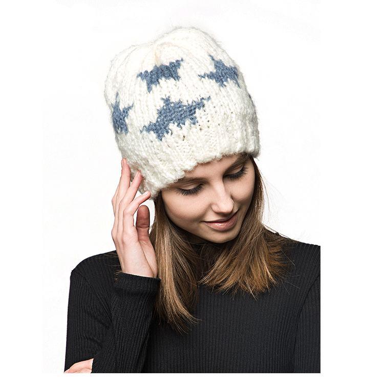 Winter Fashion Strick Alpaka Stricken Dame Hut