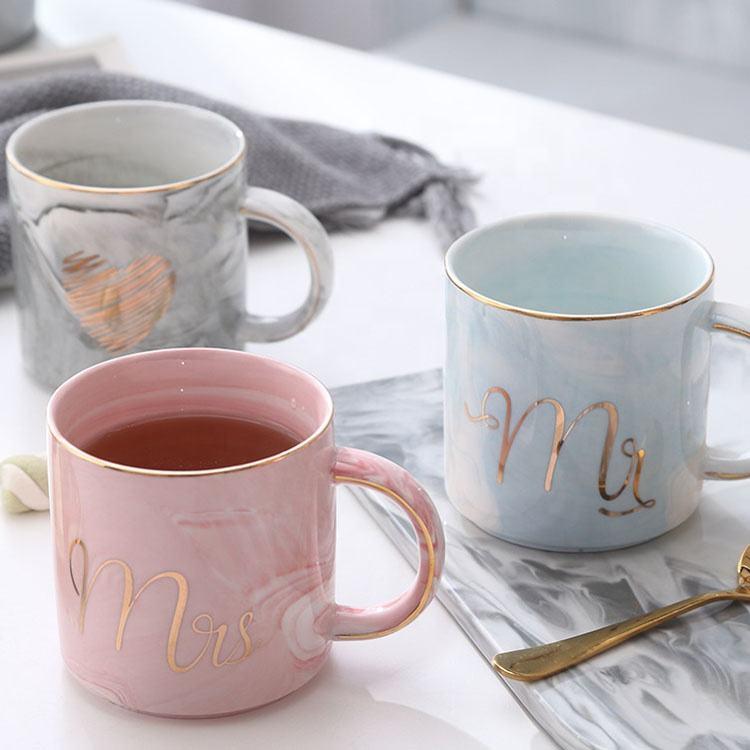 Petit gros En Céramique Marbrée café tasse avec la conception adaptée aux besoins du <span class=keywords><strong>client</strong></span> pour le mariage annicersary <span class=keywords><strong>cadeau</strong></span>