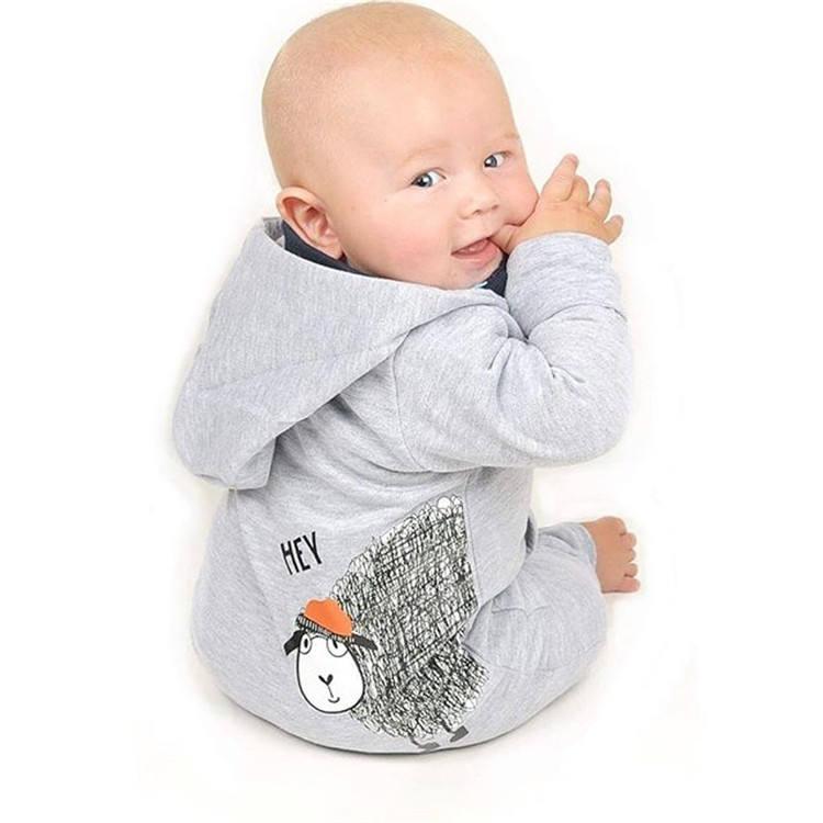 Оптовая продажа дышащая осень зима хлопок пижамы детские комбинезоны для малышек с капюшоном комбинезон длинными рукавами