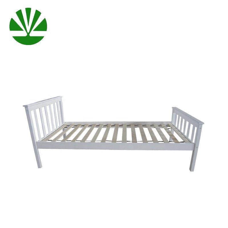 Padrão branco luz plataforma de madeira cama de solteiro