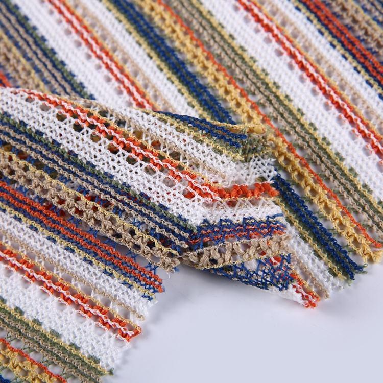 Teñido de hilo de poliéster textil tejido de punto de urdimbre elástico tejido crochet