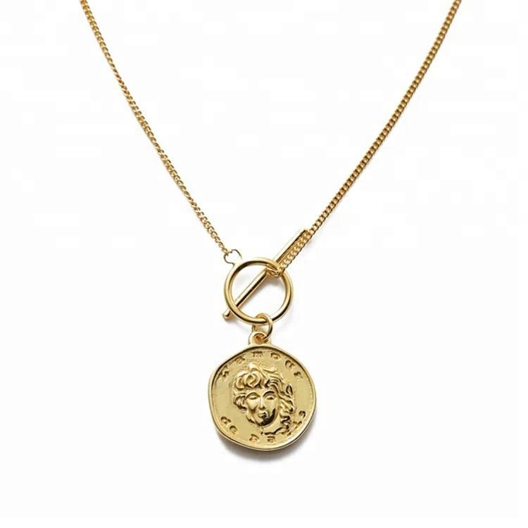 <span class=keywords><strong>Joyería</strong></span> de plata de ley 925 de moda encanto Medallón de Oro colgante de moneda collar delicado