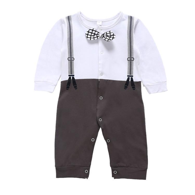 Осень и зима Одежда для новорожденных модные детские комбинезон Формальные с длинным рукавом Одежда мальчиков Ползунки