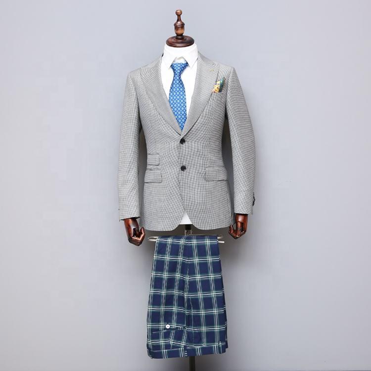 Hecho a la medida 1 sets MOQ de cuadrícula hilado teñido gris hombres al oeste formal abrigo para hombre