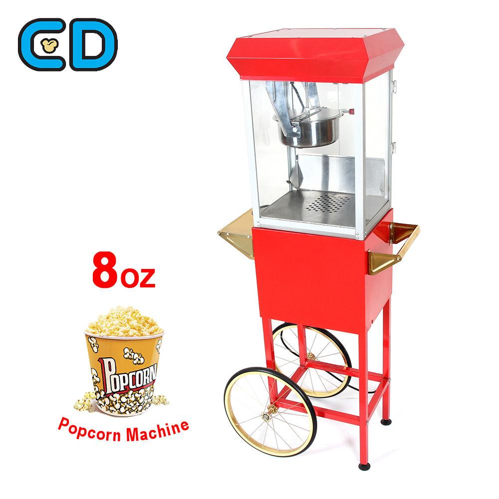 غير مكلفة الفشار آلة الجملة كبيرة الطراز القديم الفشار آلة عربة الساخن النفط الأحمر 8 Oz جهاز إعداد الفشار
