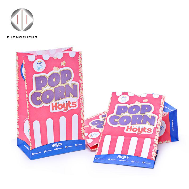 Высокое качество Горячая Распродажа Логотип Печатный белый крафт Бумажный мешок для попкорна