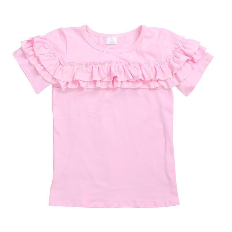 Летняя рубашка с короткими рукавами простого дизайна с оборками для девочек оптовая продажа детской одежды