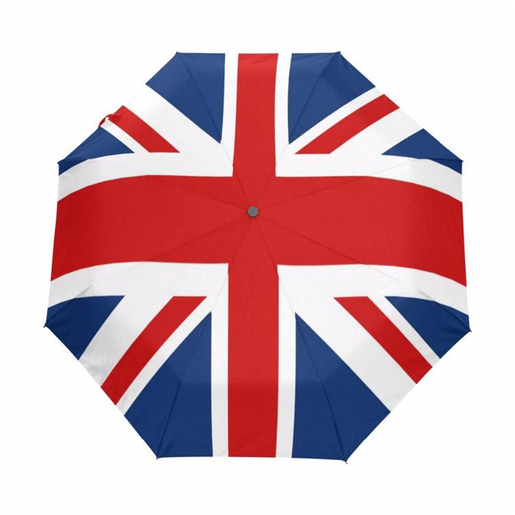 Nueva llegada Reino Unido de Gran Bretaña bandera sombrilla tres paraguas plegables con revestimiento negro