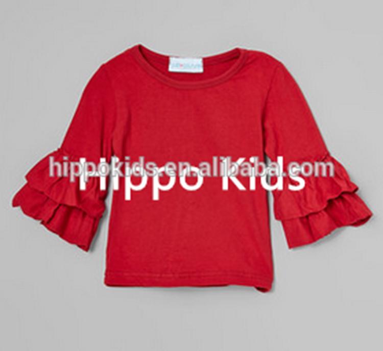 Белл Рукав tbaby Одежда для девочек оптовая продажа Обледенение рябить рубашка малышей Клюква Рябить Топ