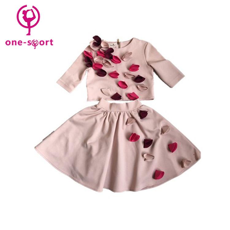 Novo design ternos de saia das crianças por atacado, crianças vestido da menina de dança latina