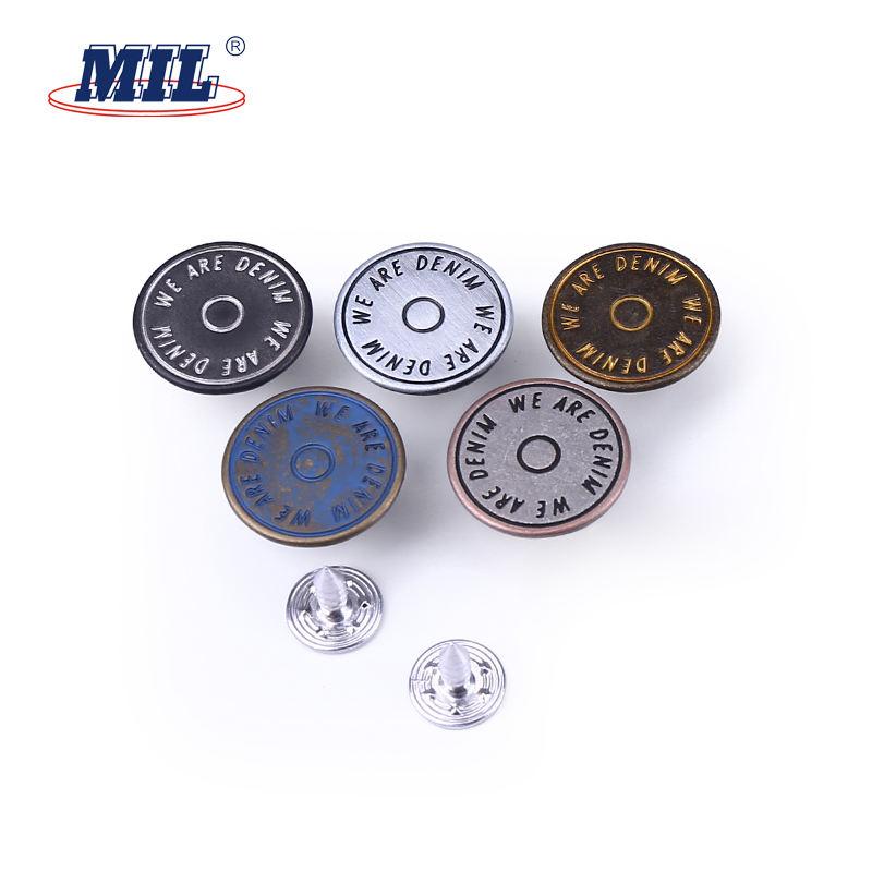 Logotipo <span class=keywords><strong>de</strong></span> la marca Custom cubierto plata metal jean botones para la ropa