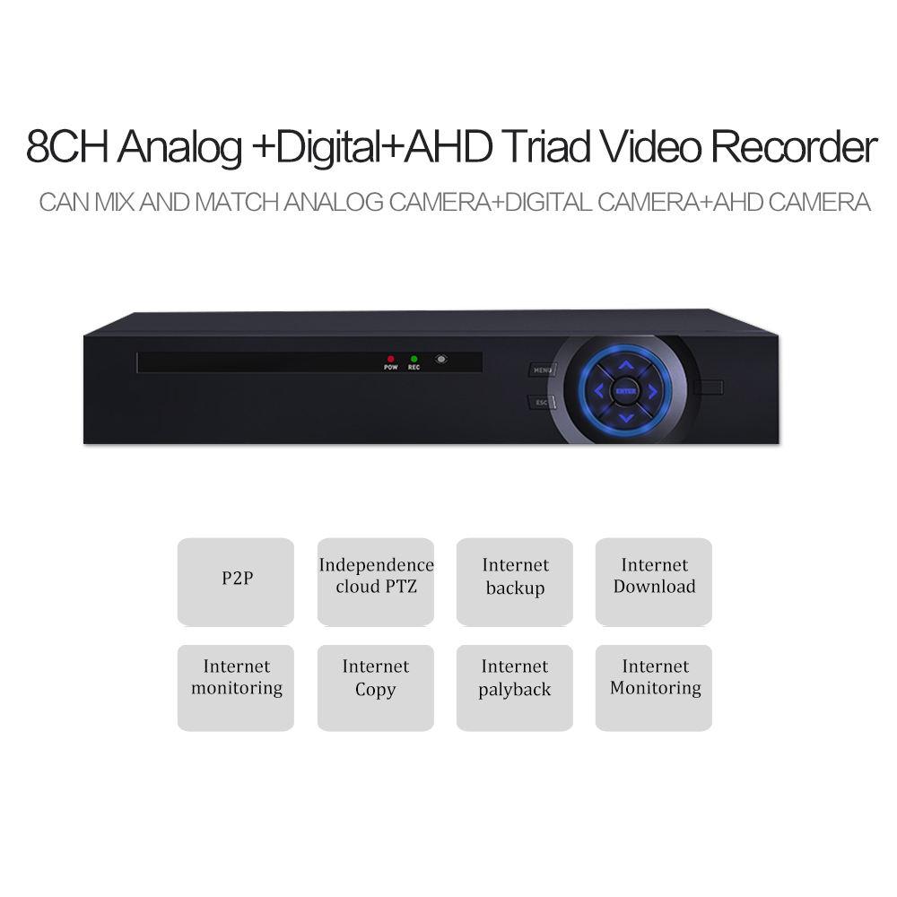 新しいahd/ip/アナログ3in1 8ch 1080N hdハイブリッドahd dvr cctvカメラレコーダー監視ahd dvrでhdmi vga