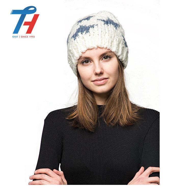 Kış Moda Örme Alpaka Örgü bayan şapka