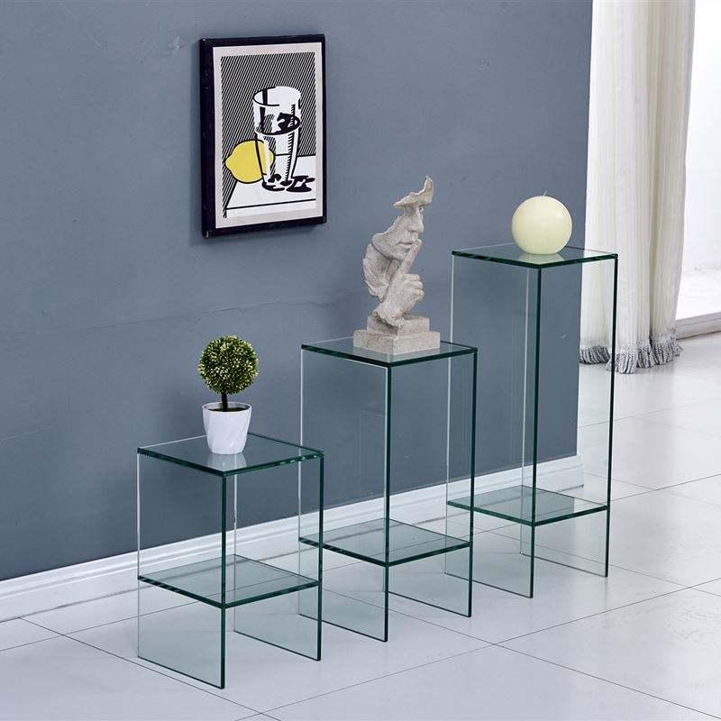 2019 Nuovo Design In Vetro Tavolino Set/Display Rack/Fiore <span class=keywords><strong>Opere</strong></span> <span class=keywords><strong>D</strong></span>'<span class=keywords><strong>arte</strong></span> Del Basamento Per La Casa Ufficio Decorazione Mobili