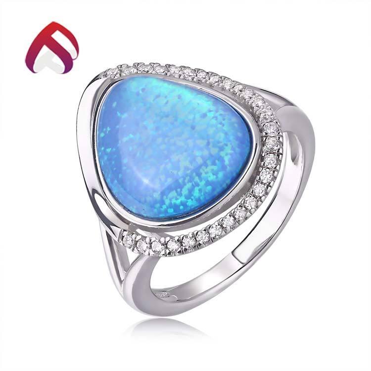 Лидер продаж серебристые женские Голубой овал синтетический опал камень кольцо с камнями