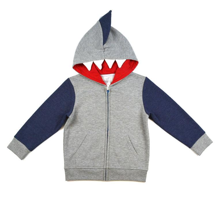 Новый весенний дизайн для мальчиков с длинным рукавом с капюшоном «Акула» три цвета толстовка