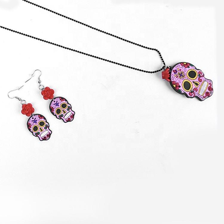 Pinc ПВХ мексиканский милый Череп красные розы День мертвых ожерелье серьги Хэллоуин подарок