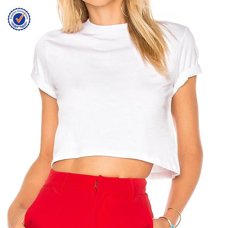 YL OEM Лето Best продавец белый укороченный тройник 100% хлопок футболка женская для оптовой продажи логотип