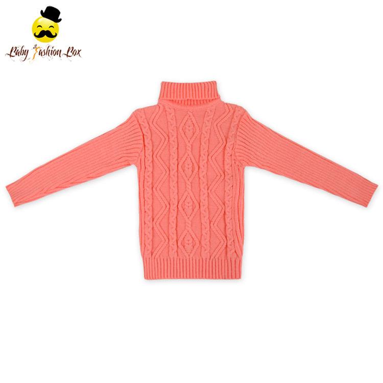 Высокая шея с длинным рукавом Вязание Шерсть обувь для девочек Зимний Детский свитер последние модные свитер дизайн детей