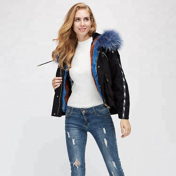 Prezzo di fabbrica delle donne di procione collare cappotto di pelliccia di coniglio e piuma d'oca fodera nera <span class=keywords><strong>breve</strong></span> parka