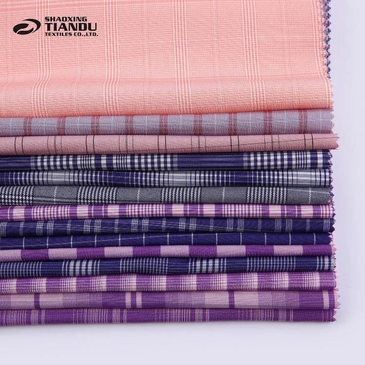Di alta qualità tessuto di controllo/della banda tinto filato di poliestere prezzo tessuto in malesia per la camicia