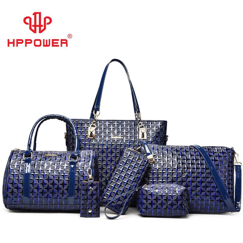 Vente chaude pas cher vietnam formelle matelassé en cuir de luxe <span class=keywords><strong>canal</strong></span> sacs et porte-monnaie 6 pièces ensemble sacs à main pour femmes