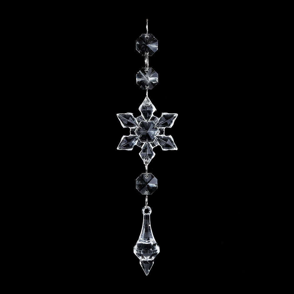 Hanging clear acrylic octagon bead snowflake suncatcher christmas decoration ornaments