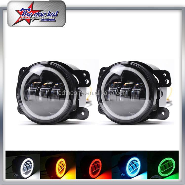 Ángel Halo de Los Ojos de Control RGB Luz de Niebla Por Bluetooth 4 Pulgadas LED Lámpara Para Jeep Wrangler Hummer Pasando