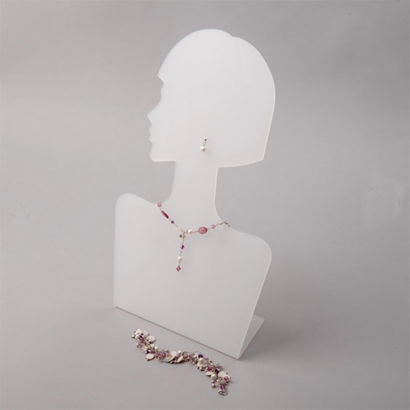Flat Pack Necklace /& Earrings Acrylic Jewellery Display Bust Clear Frost