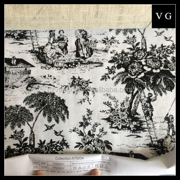 Tecido de linho para o sofá pequena flor impresso linho tecido de algodão para casa