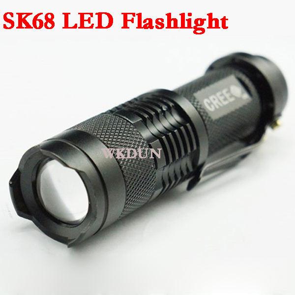 Venta caliente sk68 ajustable de enfoque y zoom ultrafire 300lm aa/14500 batería q5 cree llevó la linterna