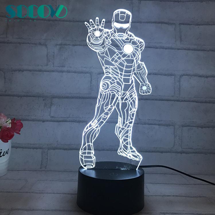 hombre figura 3D ilusión lámpara Led de 7 colores cambiantes luz vengadores flotante de hierro hombre figuras modelo A
