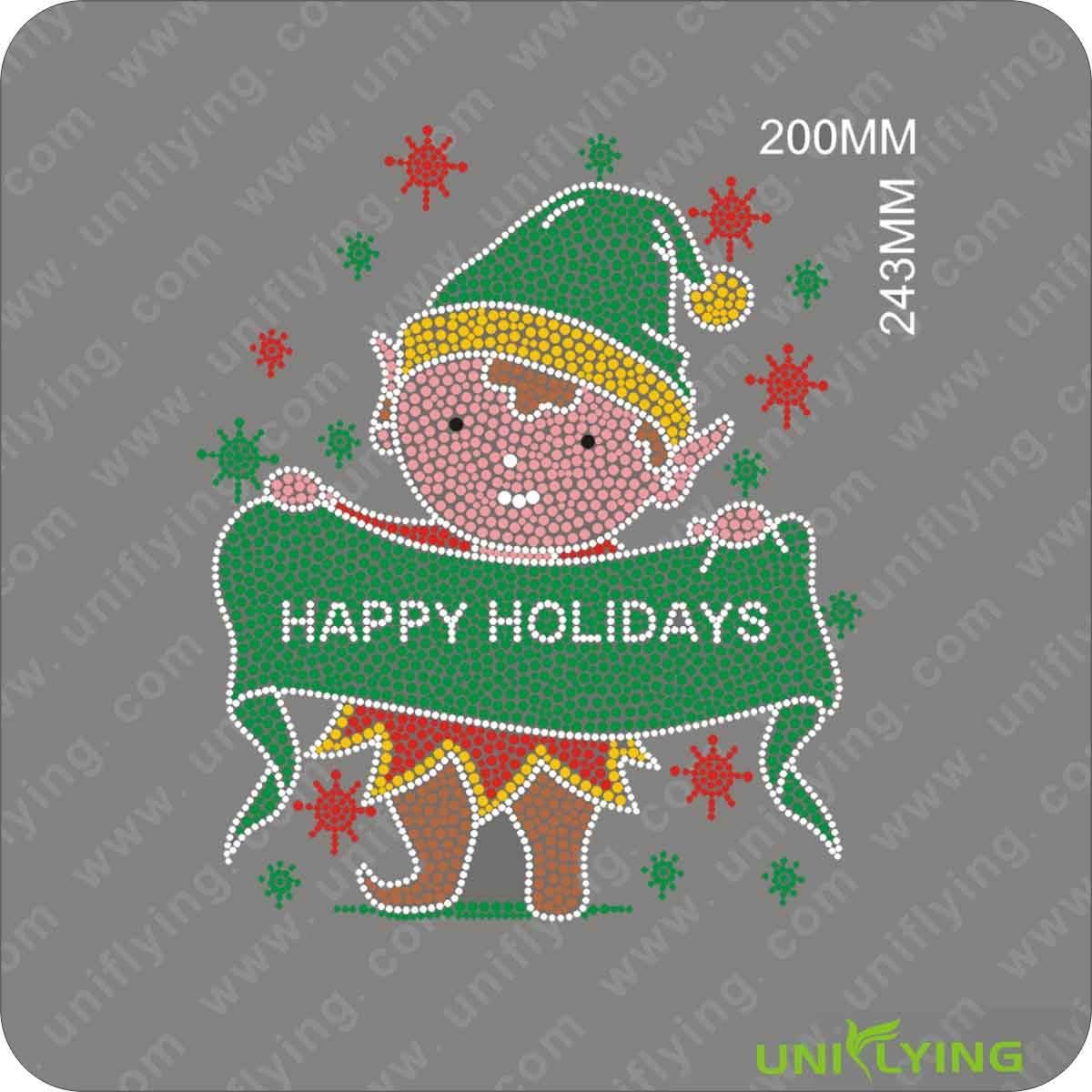 Feliz feriado de Natal atacado ferro-em transferência de strass