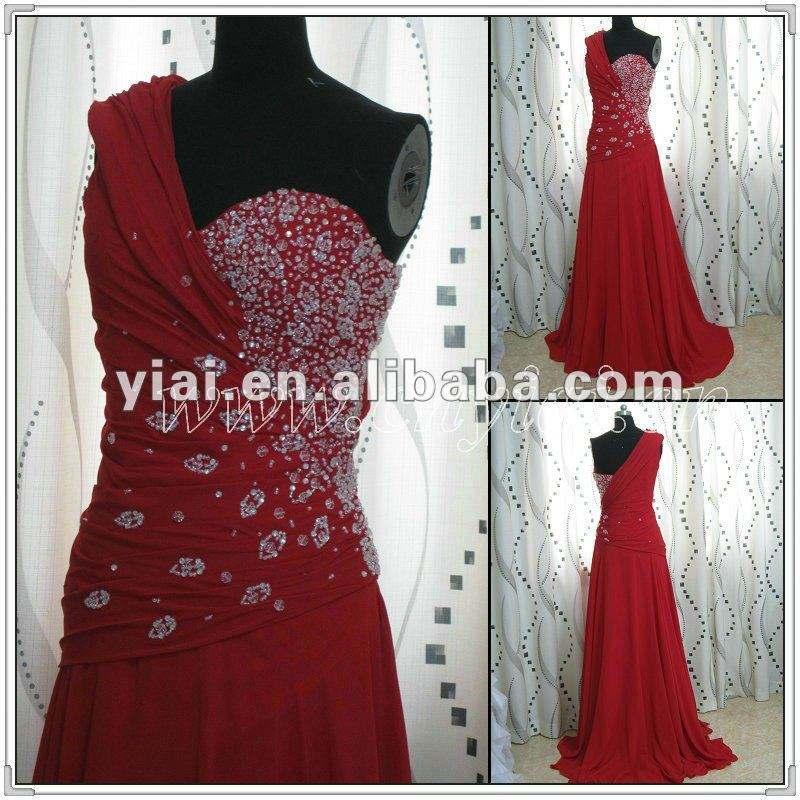La mousseline de soie rouge de l'épaule PP2558 un a perlé la robe de soirée d'Elagnt 2013