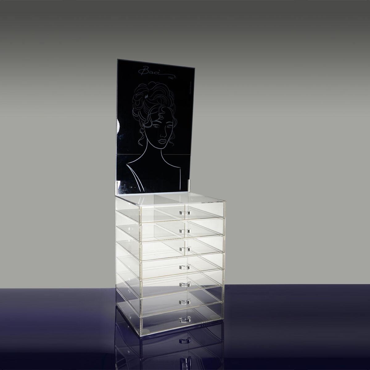 7 capas de acrílico de hardware cajones de almacenaje de la joyería organizador con negro de cabecera