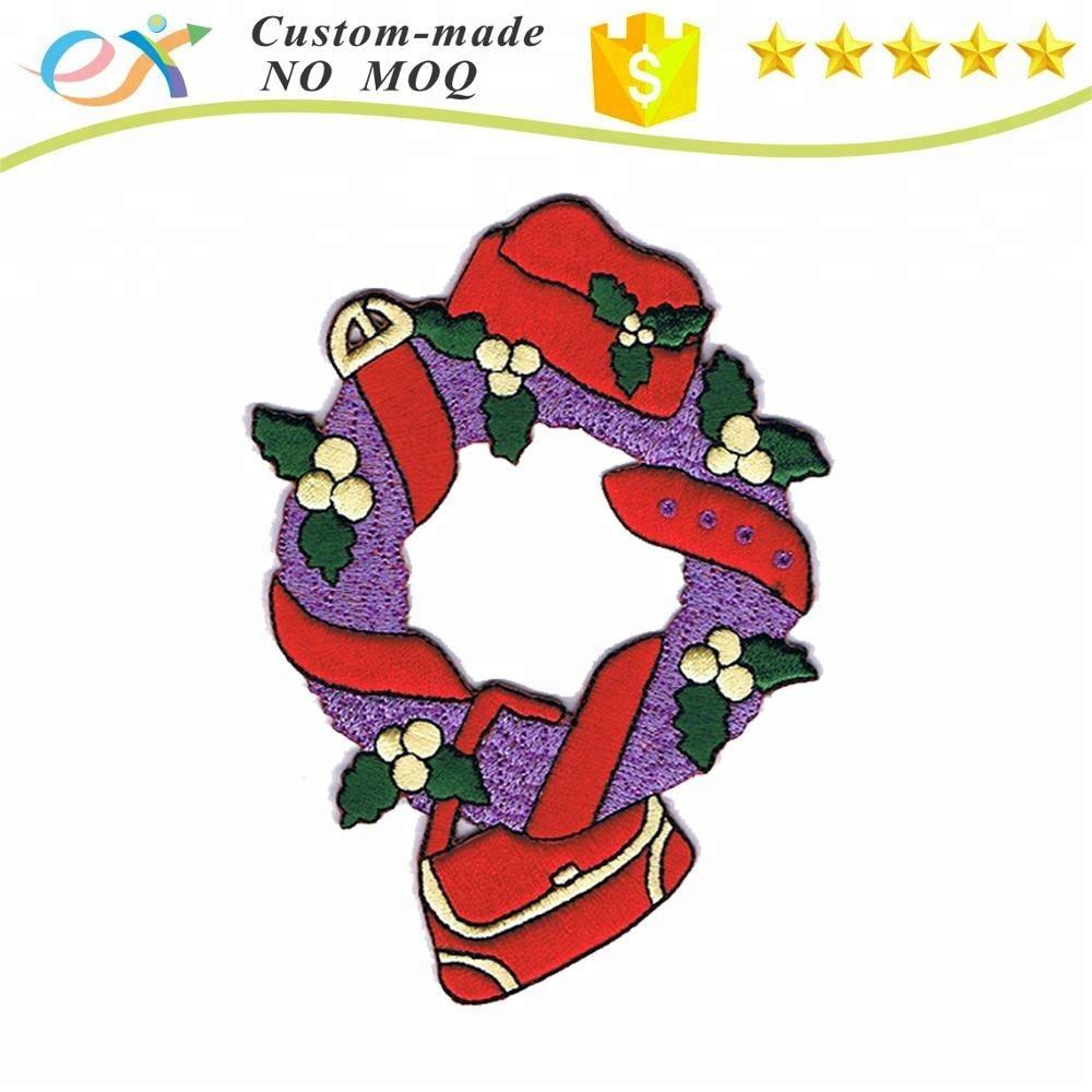 Настроить вышивка цветок патч для Рождества