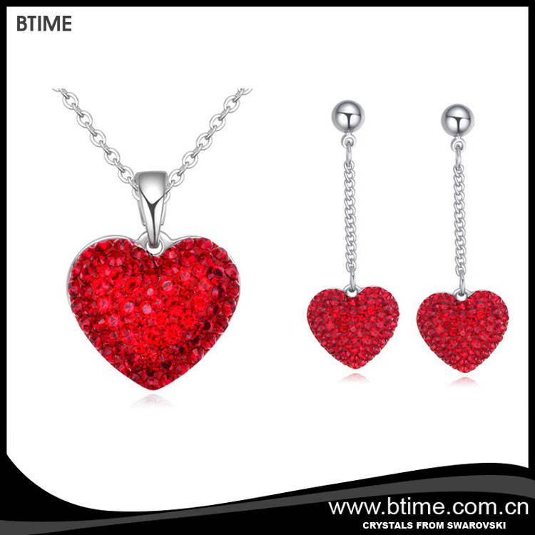 Coeur en cristal ensemble de <span class=keywords><strong>bijoux</strong></span> Cristaux de swarovski pour les mères jour