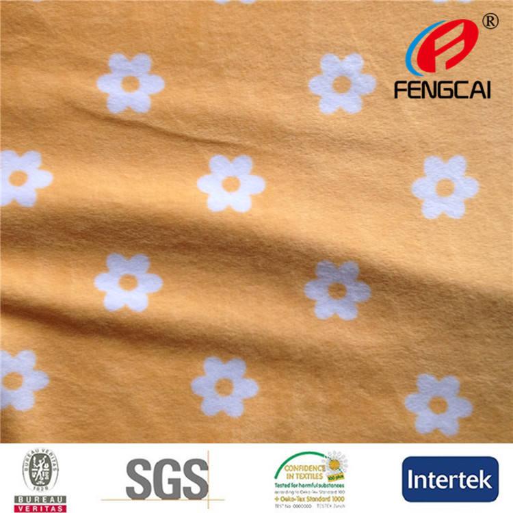 100% polyester turuncu çiçek <span class=keywords><strong>triko</strong></span> velboa kumaş fırçaladı